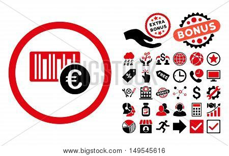 Euro Barcode pictograph with bonus pictograph collection. Glyph illustration style is flat iconic bicolor symbols, intensive red and black colors, white background.