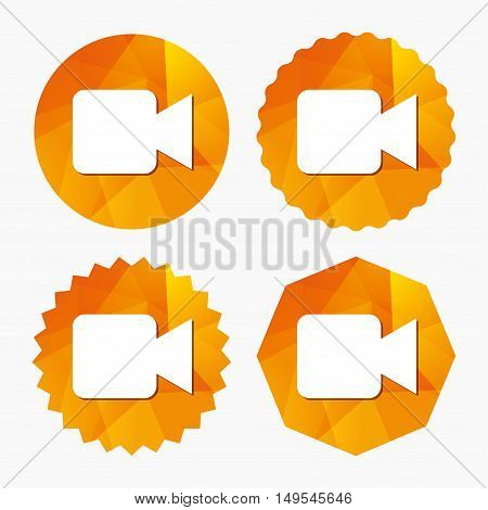 Video camera sign icon. Video content button. Triangular low poly buttons with flat icon. Vector