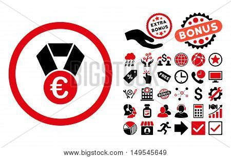 Euro Champion Medal pictograph with bonus images. Glyph illustration style is flat iconic bicolor symbols, intensive red and black colors, white background.