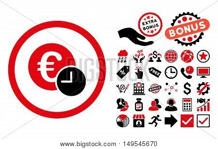 Euro Credit icon with bonus pictogram. Glyph illustration style is flat iconic bicolor symbols, intensive red and black colors, white background.