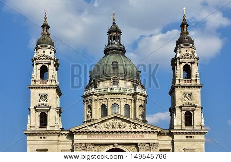 Saint Stephen Basilica beautiful classical dome in the center of Budapest with twin bell towers