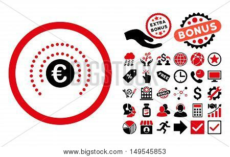 Euro Financial Sphere Shield pictograph with bonus pictograph collection. Glyph illustration style is flat iconic bicolor symbols, intensive red and black colors, white background.