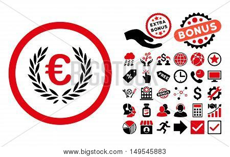 Euro Glory icon with bonus icon set. Glyph illustration style is flat iconic bicolor symbols, intensive red and black colors, white background.