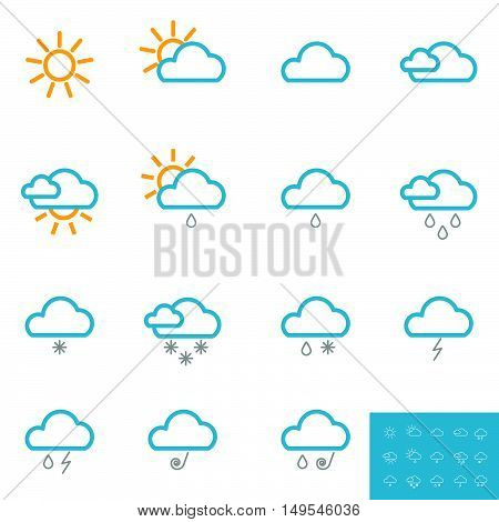Weather Icon Set Color Design Illustration