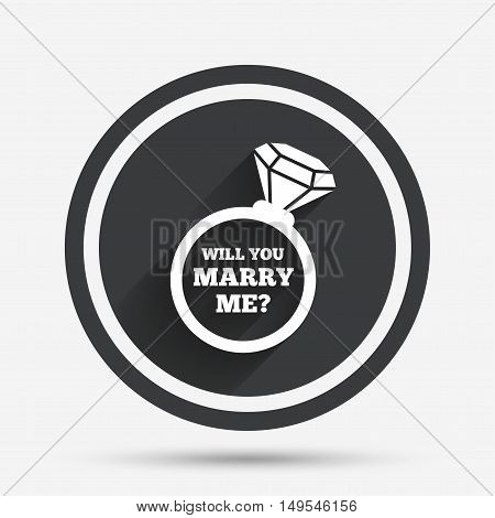 Will you marry me ring sign icon. Engagement symbol. Circle flat button with shadow and border. Vector