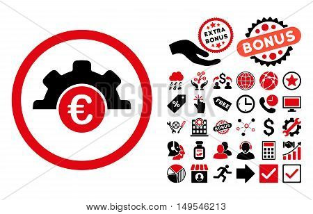 Euro Technology pictograph with bonus pictogram. Glyph illustration style is flat iconic bicolor symbols, intensive red and black colors, white background.