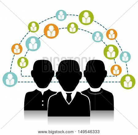 Social network people connection information global cloud