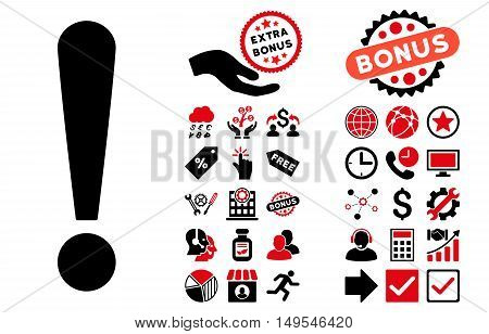 Exclamation Sign pictograph with bonus symbols. Glyph illustration style is flat iconic bicolor symbols, intensive red and black colors, white background.