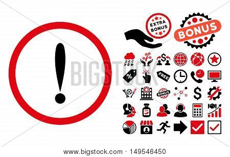 Exclamation Sign pictograph with bonus pictogram. Glyph illustration style is flat iconic bicolor symbols, intensive red and black colors, white background.