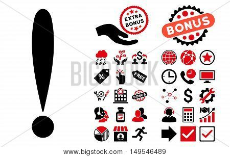 Exclamation Sign pictograph with bonus elements. Glyph illustration style is flat iconic bicolor symbols, intensive red and black colors, white background.
