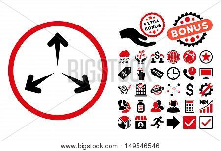 Expand Arrows icon with bonus symbols. Glyph illustration style is flat iconic bicolor symbols, intensive red and black colors, white background.
