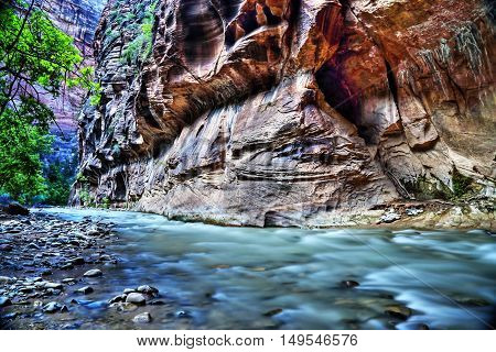 The virgin river at Zion National Park Utah. HDR (High dynamic range) picture.
