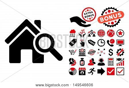 Explore House pictograph with bonus images. Glyph illustration style is flat iconic bicolor symbols, intensive red and black colors, white background.