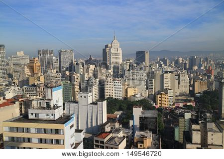 Sao Paulo skyline in the morning. Sao Paulo is the biggest city in Brazil.