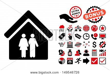 Family House icon with bonus pictures. Glyph illustration style is flat iconic bicolor symbols, intensive red and black colors, white background.