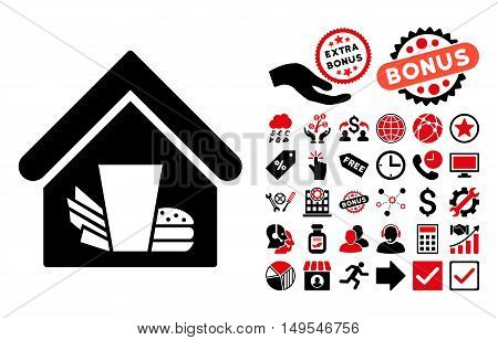 Fastfood Cafe icon with bonus pictures. Glyph illustration style is flat iconic bicolor symbols, intensive red and black colors, white background.