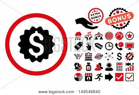 Financial Reward Seal pictograph with bonus pictogram. Glyph illustration style is flat iconic bicolor symbols, intensive red and black colors, white background.