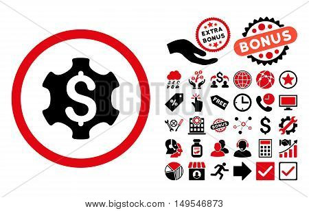 Financial Settings pictograph with bonus elements. Glyph illustration style is flat iconic bicolor symbols, intensive red and black colors, white background.