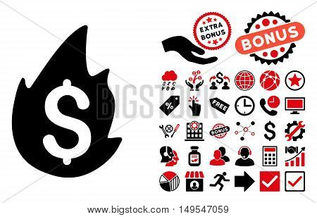 Fire Disaster icon with bonus elements. Glyph illustration style is flat iconic bicolor symbols, intensive red and black colors, white background.