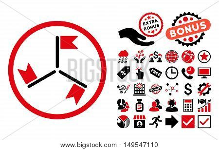Flags icon with bonus pictograph collection. Glyph illustration style is flat iconic bicolor symbols, intensive red and black colors, white background.
