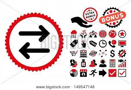 Flip Horizontal pictograph with bonus images. Glyph illustration style is flat iconic bicolor symbols, intensive red and black colors, white background.