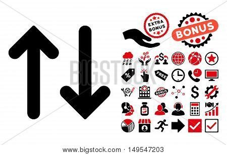 Flip Vertical icon with bonus images. Glyph illustration style is flat iconic bicolor symbols, intensive red and black colors, white background.