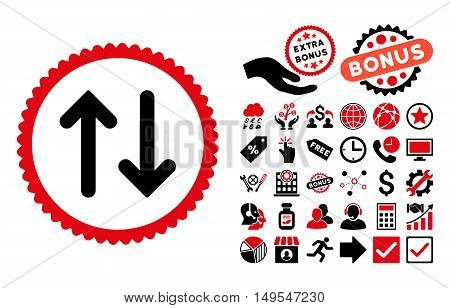 Flip pictograph with bonus images. Glyph illustration style is flat iconic bicolor symbols, intensive red and black colors, white background.