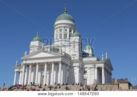 Beautiful view of famous Helsinki Cathedral - Finland.