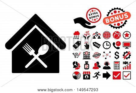 Food Court pictograph with bonus clip art. Glyph illustration style is flat iconic bicolor symbols, intensive red and black colors, white background.