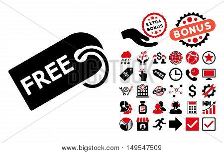 Free Tag pictograph with bonus icon set. Glyph illustration style is flat iconic bicolor symbols, intensive red and black colors, white background.