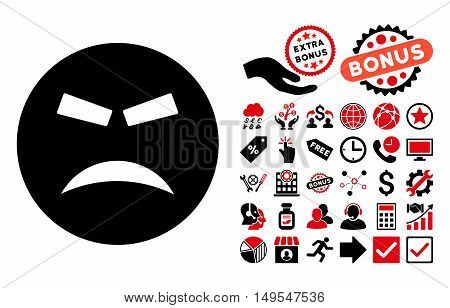 Furious pictograph with bonus elements. Glyph illustration style is flat iconic bicolor symbols, intensive red and black colors, white background.