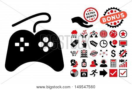 Gamepad pictograph with bonus elements. Glyph illustration style is flat iconic bicolor symbols, intensive red and black colors, white background.