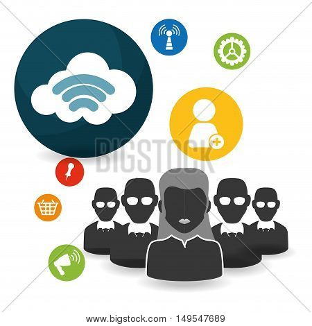 Social network icon cloud connection people sound