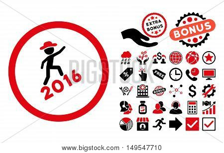 Gentleman Climbing 2016 pictograph with bonus images. Glyph illustration style is flat iconic bicolor symbols, intensive red and black colors, white background.