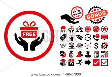 Give Present icon with bonus elements. Glyph illustration style is flat iconic bicolor symbols, intensive red and black colors, white background.