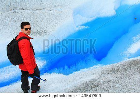 Man walking in a glacier. Perito Moreno El Calafate Patagonia Argentina