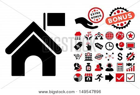 Government Building pictograph with bonus images. Glyph illustration style is flat iconic bicolor symbols, intensive red and black colors, white background.