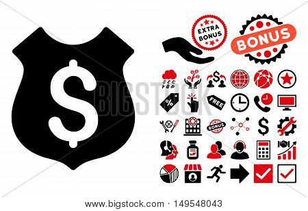 Guard Price icon with bonus pictures. Glyph illustration style is flat iconic bicolor symbols, intensive red and black colors, white background.