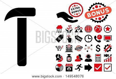 Hammer icon with bonus symbols. Glyph illustration style is flat iconic bicolor symbols, intensive red and black colors, white background.
