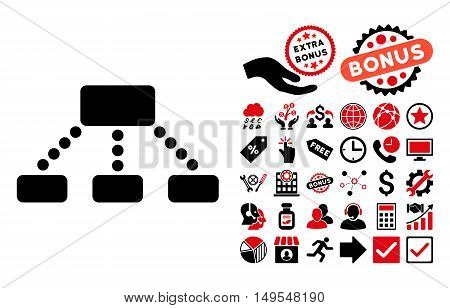 Hierarchy icon with bonus elements. Glyph illustration style is flat iconic bicolor symbols, intensive red and black colors, white background.