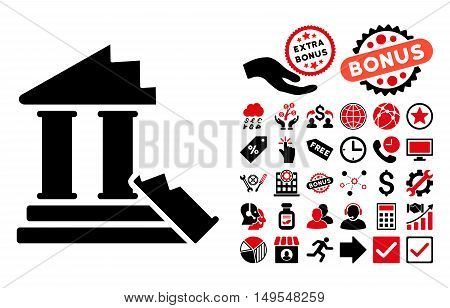 Historic Ruins pictograph with bonus images. Glyph illustration style is flat iconic bicolor symbols, intensive red and black colors, white background.