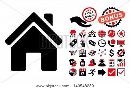 Home Building pictograph with bonus design elements. Glyph illustration style is flat iconic bicolor symbols, intensive red and black colors, white background.