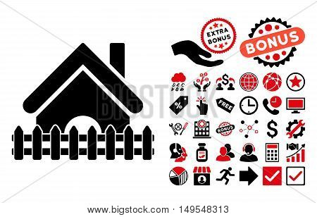 Home Fence pictograph with bonus pictures. Glyph illustration style is flat iconic bicolor symbols, intensive red and black colors, white background.