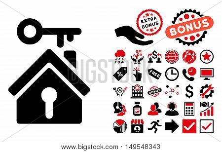 Home Key icon with bonus pictogram. Glyph illustration style is flat iconic bicolor symbols, intensive red and black colors, white background.