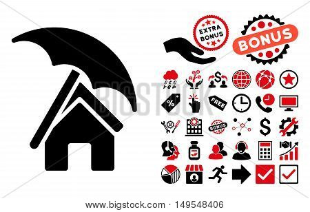Home under Umbrella pictograph with bonus symbols. Glyph illustration style is flat iconic bicolor symbols, intensive red and black colors, white background.