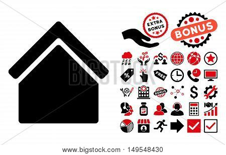 Home icon with bonus pictograph collection. Glyph illustration style is flat iconic bicolor symbols, intensive red and black colors, white background.