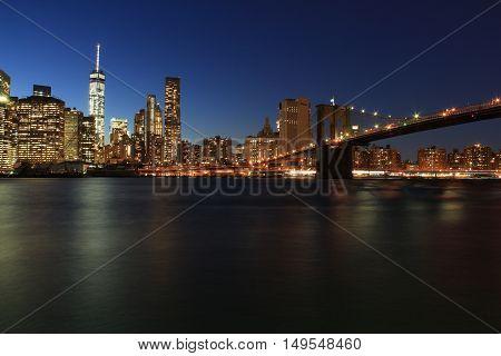 NEW YORK CITY USA - OCTOBER 23 2015: New York City skyline from Brooklyn Bridge park at night