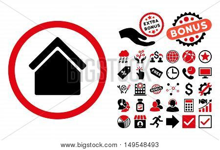 Home pictograph with bonus symbols. Glyph illustration style is flat iconic bicolor symbols, intensive red and black colors, white background.
