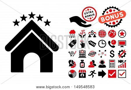 Hotel Stars pictograph with bonus elements. Glyph illustration style is flat iconic bicolor symbols, intensive red and black colors, white background.