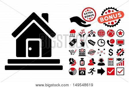 House Front Door pictograph with bonus design elements. Glyph illustration style is flat iconic bicolor symbols, intensive red and black colors, white background.